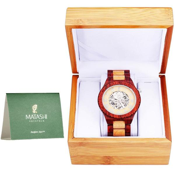 Matashi Mens Automatic Wooden Watch, Red Salwood and Maple, Japanese Movement, Business Casual
