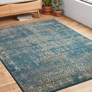Antique Inspired Vintage Blue/ Taupe Distressed Rug (12' x 15')