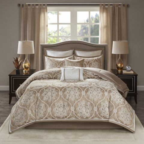 Madison Park Waylon Taupe 8-piece Jacquard Comforter Set
