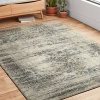 Antique Inspired Vintage Taupe/ Ivory Distressed Rug - 9'6 x 13'