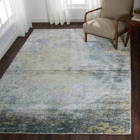 Distressed Transitional Blue/ Gold Pebble Mosaic Rug - 9'6 x 13'