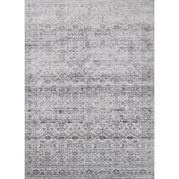 Distressed Transitional Grey Stone Vintage Damask Rug - 12' x 15'
