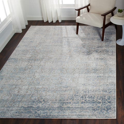 "Distressed Transitional Light Blue/ Grey Vintage Damask Rug - 9'6"" x 13'"