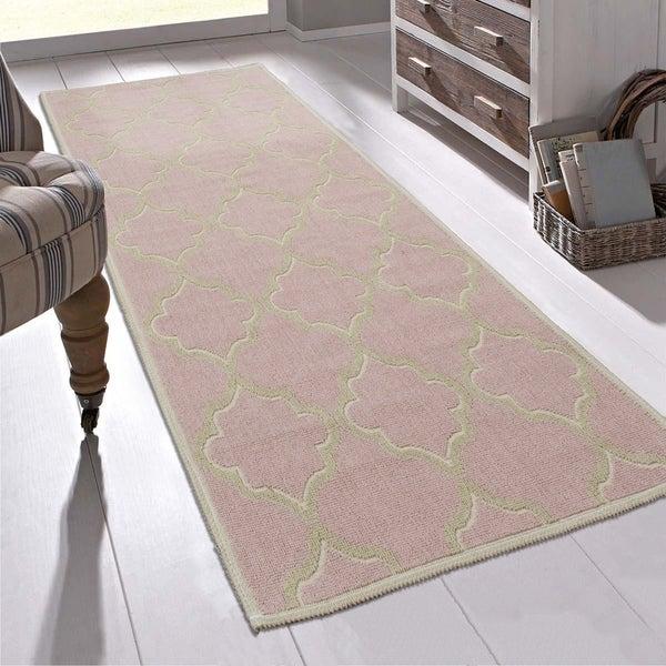 "Ottomanson Nature Cotton Kilim Collection Trellis Design Runner Rug (20"" X 59"") - 1'8"" x 4'11"""