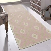 "Ottomanson Nature Cotton Kilim Collection Diamond Trellis Design Runner Rug (20"" X 59"") - 1'8"" x 4'11"""