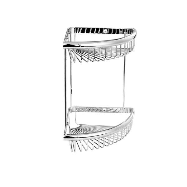 Maykke Dawn Wall Mount Double Corner Basket, 9 Inch, Polished Chrome