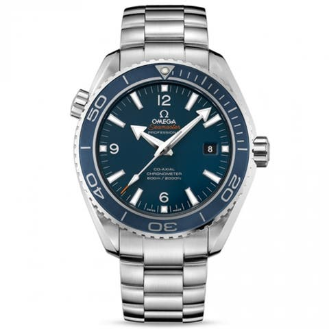 Omega Men's 232.90.46.21.03.001 'Seamaster Planet Ocean' Blue Dial Titanium Swiss Automatic Co-Axial Watch