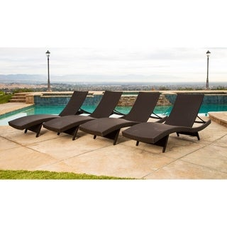 Abbyson Palermo Outdoor Espresso Wicker Chaise Lounge Set of 4