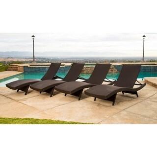 Abbyson Palermo Outdoor Espresso Wicker Chaise Lounge Set of 4