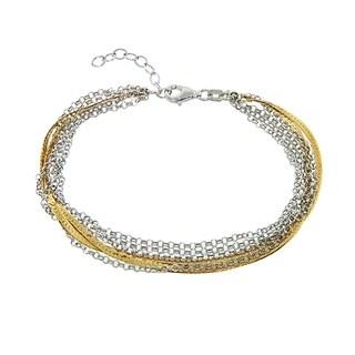 Eternally Haute Italian Two Toned 14k Gold plated Solid Sterling Silver Diamond Cut 5 Strand Bracelet
