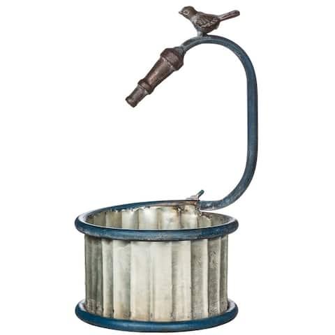 Galvanized Garden Hose Bucket Decor