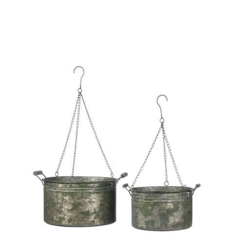 Antique-style Galvenized Bucket Hanging Planter Decor
