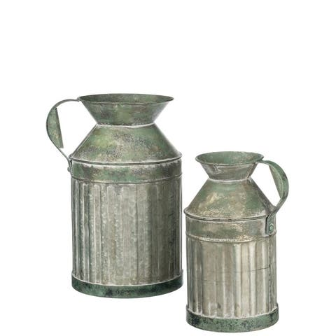 Galvanized Patina Water Can Planter Decor