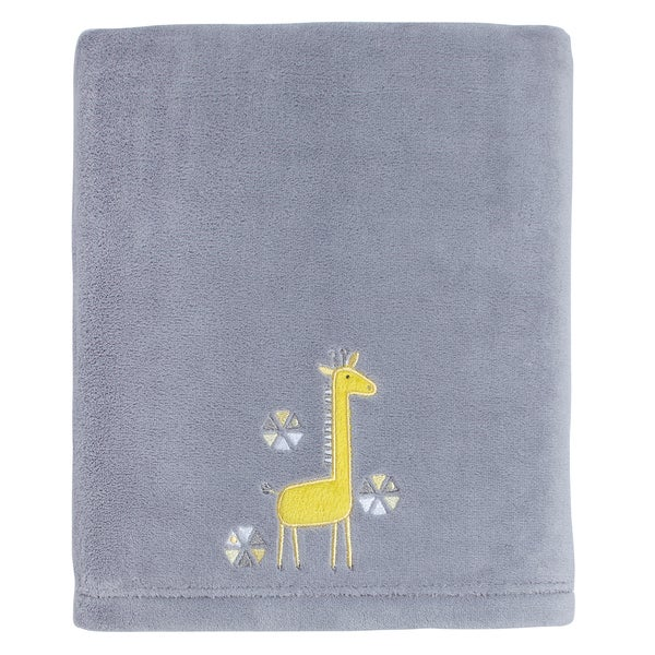 Little Love Giraffe Time Yellow Appliqued coral blanket