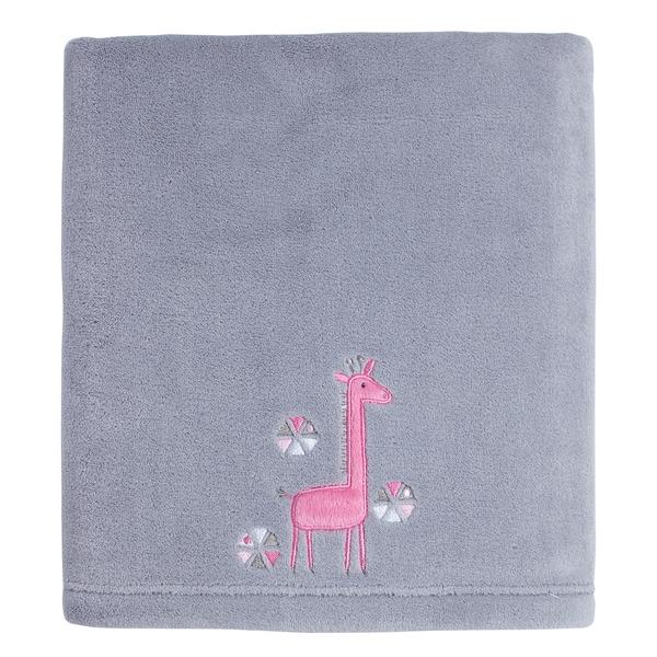 Little Love Giraffe Time Pink Appliqued coral blanket