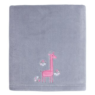 Little Love Giraffe Time Pink Appliqued coral blanket