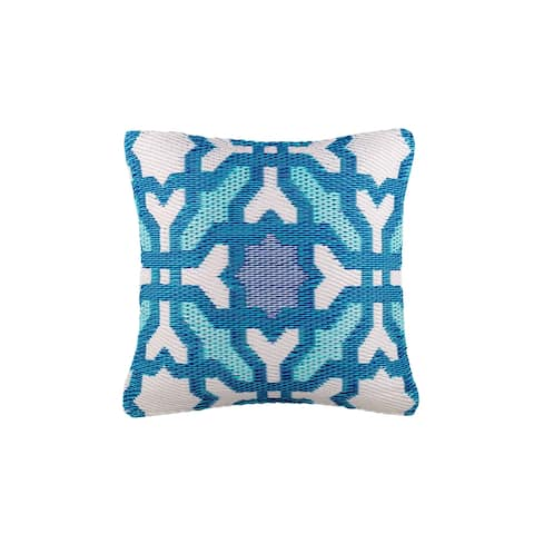 "Handmade Seville Multicolor Blue Outdoor Accent Pillow (India) - 16"" x 16"""