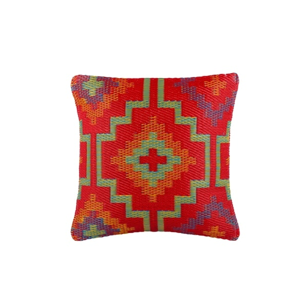 """Handmade Lhasa Orange and Violet Accent Pillow - 16.5"""" x 16.5"""" (India)"""