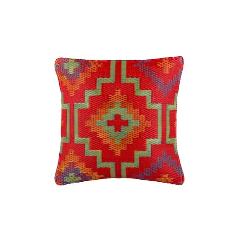 "Handmade Lhasa Orange and Voilet Outdoor Accent Pillow (India) - 20"" x 20"""