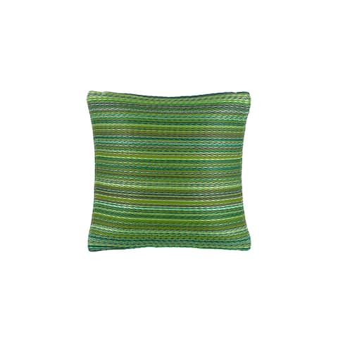 "Handmade Cancun Green Outdoor Accent Pillow (India) - 20"" x 20"""