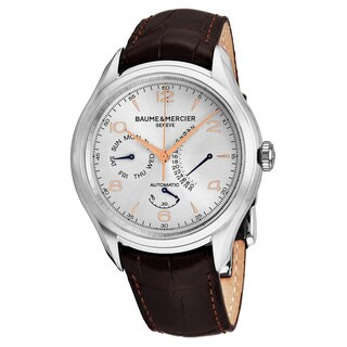 Baume Mercier Men's 'Clifton' Silver Dial Brown Leather Strap Date Day Swiss Automatic Watch