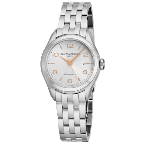 Baume Mercier Women's MOA10150 'Clifton' Silver Dial Stainless Steel Swiss Automatic Watch