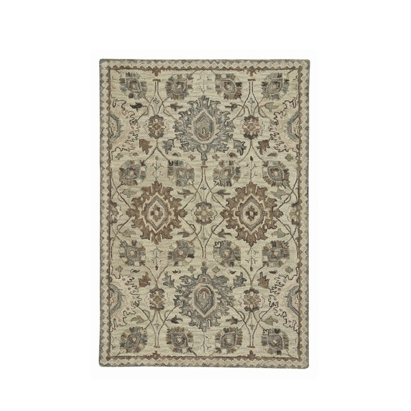 Lincoln Neutral Hand-Tufted Rectangle Area Rug (8' x 10') - N/A