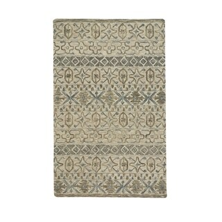 Lincoln Buff Blue Hand-Tufted Rectangle Area Rug