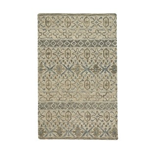 """Lincoln Buff Blue Hand-Tufted Rectangle Area Rug (3' 6"""" x 5' 6"""") - N/A"""