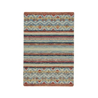 Shakta Kelim Multitone Hand-Tufted Rectangle Area Rug (5' x 8') - N/A