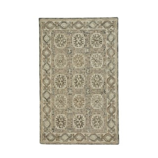 """Lincoln Light Tan Silver Hand-Tufted Rectangle Area Rug (3' 6"""" x 5' 6"""") - N/A"""