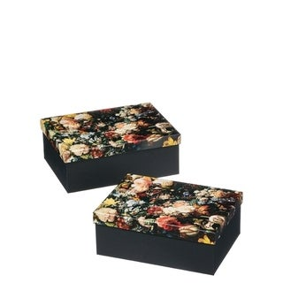 "Floral Pattern Decorative Box - 11.5""l x8.5""w x4.5""h/10.5""l x7.75""w x4.25""h"