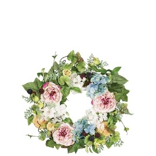 Rose, Berry, and Hydrangea Wreath