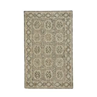 Lincoln Light Tan Silver Hand-Tufted Rectangle Area Rug (5' x 8') - N/A