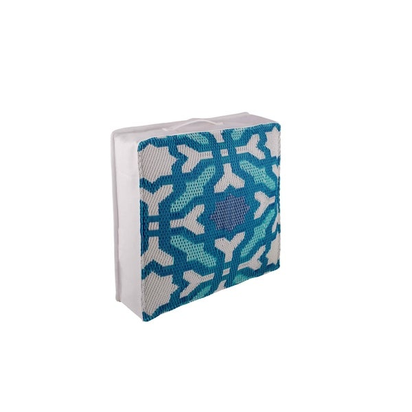 "Fab Habitat Seville Multicolor Blue Outdoor Floor Cushion (20"" x 20"")"