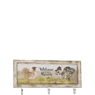 """Rooster Sign Wall Hook - 25""""l x2""""w x12.5""""h"""