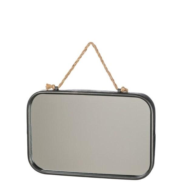"""Industrial Metal Rectangular Wall Mirror - black - 15.25""""l x1.75""""w x10.25""""h"""