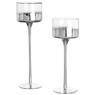 Silver Accented Glass Pedestal Votive Candle Holder