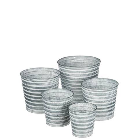 Patina Tin Pot Decor - Set of 5