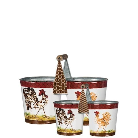 Handled Rooster Double Bucket Decor