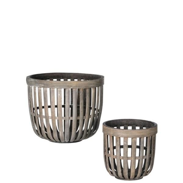 Wooden Storage Baskets - Set of 2