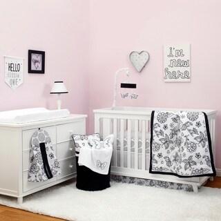 NoJo The Dreamer Collection 8pc Crib Bedding Set Floral Black/White