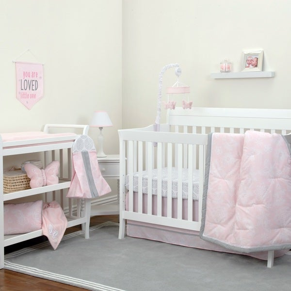 Nojo The Dreamer Collection 8pc Crib Bedding Set Fl Pink Grey