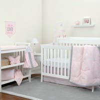 NoJo The Dreamer Collection 8pc Crib Bedding Set Floral Pink/Grey