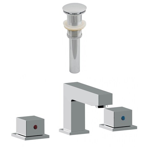 3H8-in. CUPC Approved Brass Faucet Set In Chrome Color - Drain Incl.
