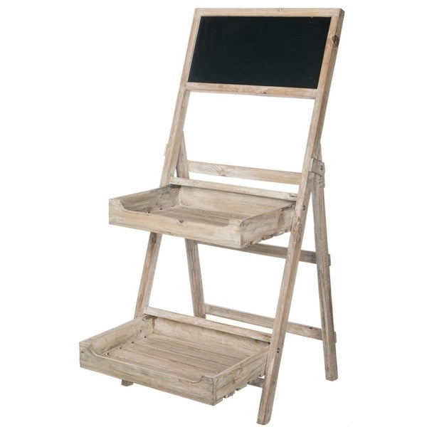 Weathered Free-standing Chalkboard Stand with Trays