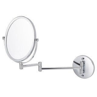 American Imaginations Chrome Finish Brass Wall-mounted Magnifying Mirror