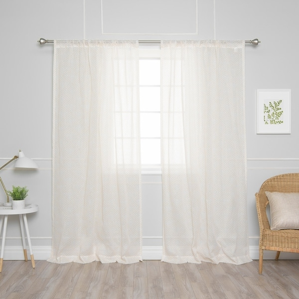 Aurora Home Diamant Border Curtain Panel Pair. Opens flyout.