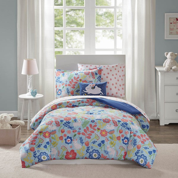 shop mi zone kids hoppy blue 8 piece bed in a bag set on sale free shipping today. Black Bedroom Furniture Sets. Home Design Ideas