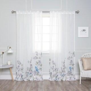 Aurora Home Watercolor Bluebird Accent Curtain Panel Pair
